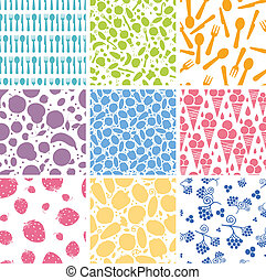 Set of nine food seamless patterns backgrounds - Vector set...