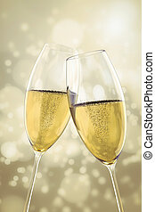 2 Champagne glasses - An image of two Champagne glasses on...