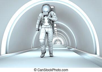 en, espacio, estación