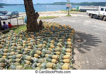 Pineapples at market, Vavau Island, Kingdom ofTonga