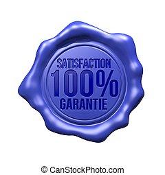 Satisfaction 100% Garantie - Blue Wax Seal - Satisfaction...