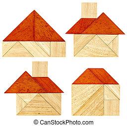 tangram, casa, abstrato