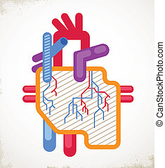 Human Heart health, disease and attack icon - Human Heart...