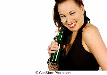 smiling brunette with a beer