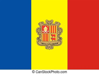 flag of Andorra - 2D illustration of the flag of Andorra