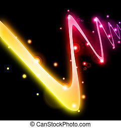Abstract curved glow line. Vector