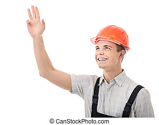 true hunky - Figure confident worker on white background