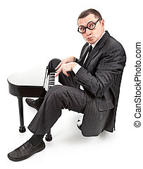 And here is the music! - portrait of a businessman on white...
