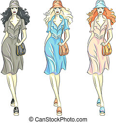 Vector fashion girls top models in dresses and hats - set...