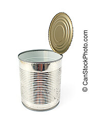 Open empty tin can isolated on white background