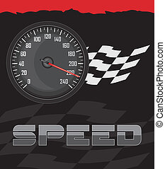Speedometer on the abstract background. Vector illustration