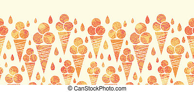 Summer ice cream cones horizontal seamless pattern border -...