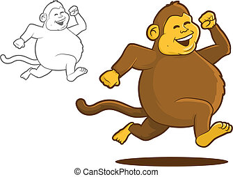 Chunky Monkey - Fat Chimpanzee Running Cartoon