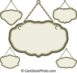 hanging frame - set of isolated hanging sign