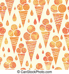 Summer ice cream cones seamless pattern background - vector...