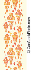 Summer ice cream cones vertical seamless pattern border -...