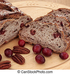 Gourmet Bread - Cranberry and pecan bread on a beech wood...