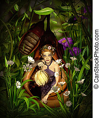 Cocoon - a female elf sitting with a lantern in a cocoon