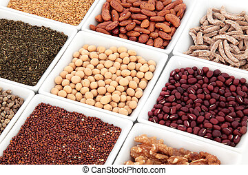 Super Food - Healthy super food selection of pulses, nuts,...