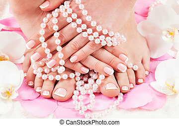 manicure and pedicure - beautiful manicure and pedicure