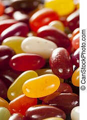 Colorful Mixed Fruity Jelly Beans on a background