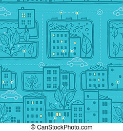 City streets seamless pattern background - Vector city...