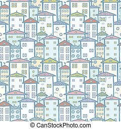 ciudad, Casas, seamless, patrón, Plano de fondo