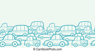 Doodle cars horizontal seamless pattern background border -...