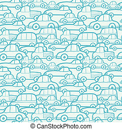 Doodle cars seamless pattern background - Vector doodle cars...
