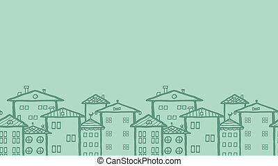 Doodle town houses horizontal seamless pattern background -...