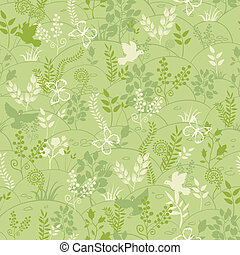 Green nature seamless pattern background - Vector green...