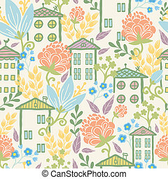 Houses among flowers seamless pattern background - Vector...