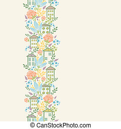 Vector houses among flowers vertical seamless pattern...