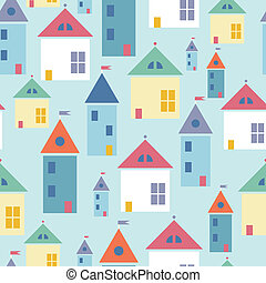 Town houses seamless pattern background - Vector town houses...