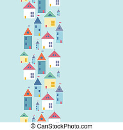 Town houses vertical seamless pattern background border -...
