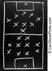 442 v 351.  Soccer formation tactics on a blackboard.