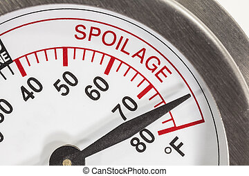 Refrigerator Thermometer Spoilage Area Macro Detail -...
