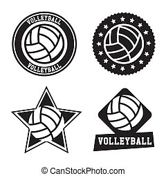 volleyball seals - volleyball seals over white background...