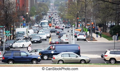 Washington Traffic - Car and Pedestrian Traffic on a...