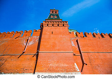 Wall of the Moscow Kremlin with space for text - Kremlin...