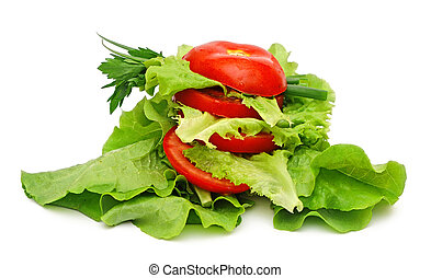 tomato vegetable and lettuce salad isolated on white...