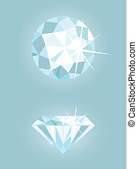 Set of two vector shiny diamonds on light blue background.