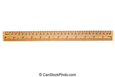 A 30 cm wooden ruler, isolated on a white background. Flip...