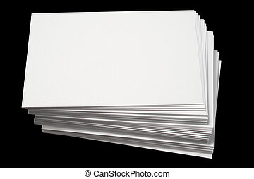 Blank white business cards. - A stack of blank white...