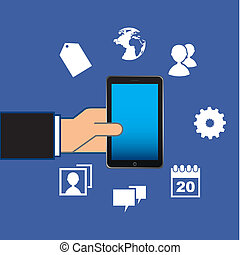 smartphone - smarthphone design over blue background vector...