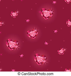 Ruby heart diamonds seamless pattern background - Vector...
