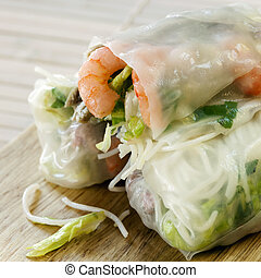 Rice Paper Rolls - Rice paper rolls with shrimp and...