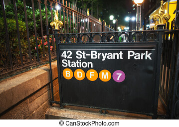 42st - Bryant Park Subway sign in the summer night, New York...