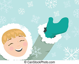 Snowflake Fun - An illustration of a cute girl having fun in...