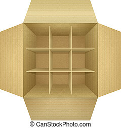 Open empty corrugated cardboard packaging box, with subtle...